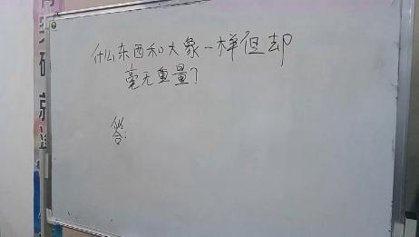 老师出这题绝了:什么东西和大象一样重,但是却毫无重量?