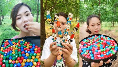 大妹子直播吃篮球糖、卡通糖、魔方糖,看着就过瘾,向往的生活