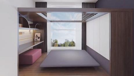 创意儿童房 休息学习两不误 利用悬空床还能设计出玩耍滑梯