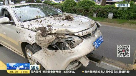 浦东:小轿车撞向路中央隔离带 并无人员伤亡