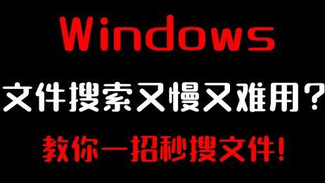 文件搜索  Windows文件搜索又慢又难用?教你一招秒搜文件!  
