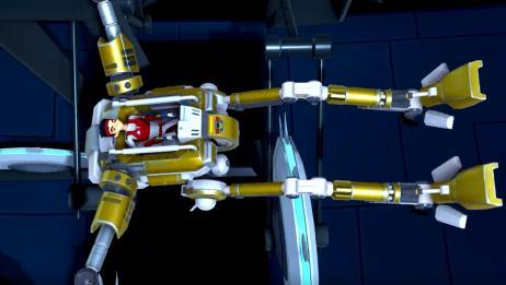 锋速战警:小朋友完美控制机甲,真是厉害,整个机甲都伸开了
