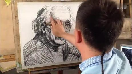 刘磊素描人物头像之《爱因斯坦步骤一》汉墨画室