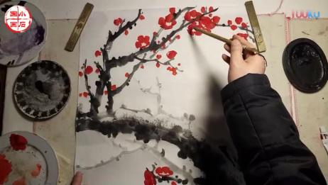 写意梅花斗方构图的画法之花头篇小石国画入门