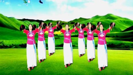陕北民歌花球秧歌舞《拥军花鼓》原创32步,简单喜庆,看了就会跳