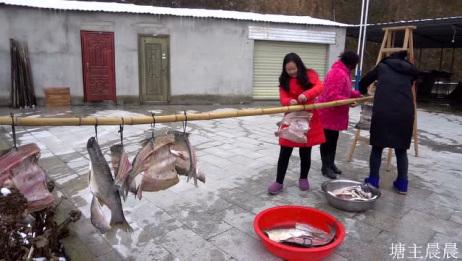 农村婆媳把腌制好的腊鱼腊肉拿出来晾晒,这鱼肉腌的真到位