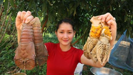 买回来几只琵琶虾,看看柬埔寨女子是怎么吃的