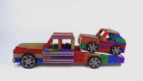 手工玩具模型,看看如何用巴克球拼装玩具拖车!