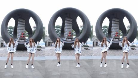 双胞胎美女跳鬼步舞《又见山里红》,姐妹俩真的和镜子一样!