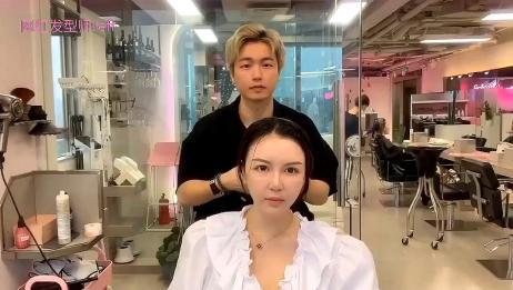 宽额头不要太适合刘海了,发型师帮女生设计好后,超显小脸