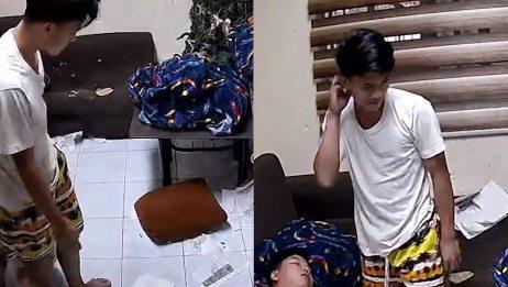 男孩写作业睡着,醒来发现试卷不见地上满是纸屑,忍不住嘴角上扬